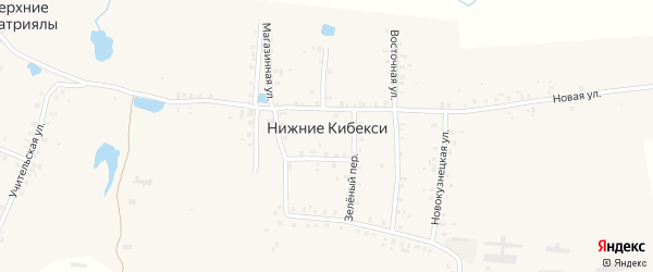 Зеленый переулок на карте деревни Нижние Кибекси с номерами домов