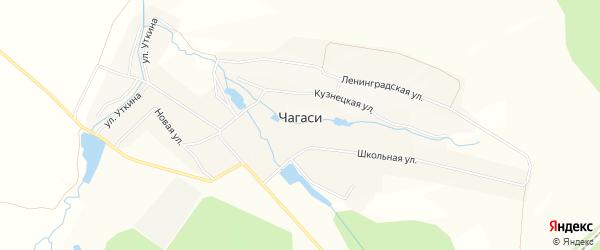 Карта деревни Чагаси в Чувашии с улицами и номерами домов