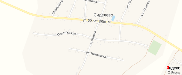 Советская улица на карте деревни Сиделево с номерами домов