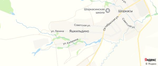 Карта деревни Яшкильдино в Чувашии с улицами и номерами домов