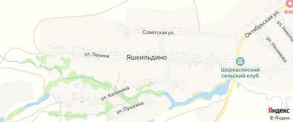 Новая улица на карте деревни Яшкильдино с номерами домов
