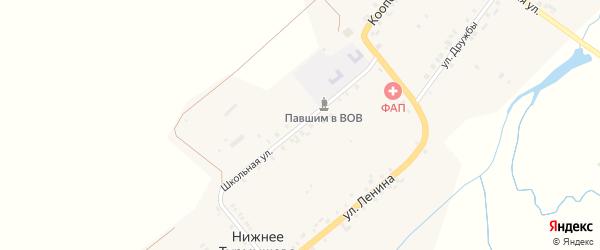 Школьная улица на карте деревни Нижнее Турмышево с номерами домов