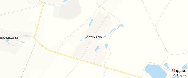 Карта деревни Аслыялы в Чувашии с улицами и номерами домов