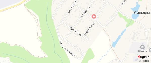 Дубовая улица на карте села Синьялы с номерами домов