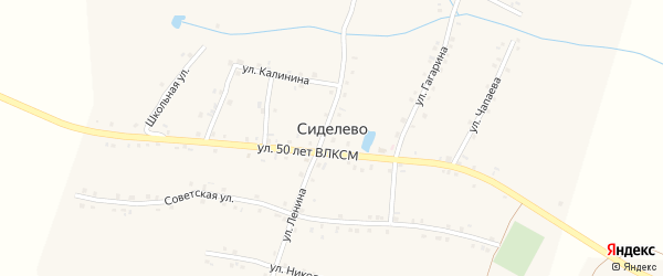 Улица Чапаева на карте деревни Сиделево с номерами домов