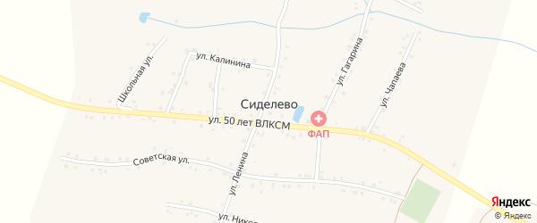 Улица Калинина на карте деревни Сиделево с номерами домов