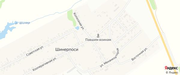 Колхозная улица на карте деревни Шинерпосей с номерами домов
