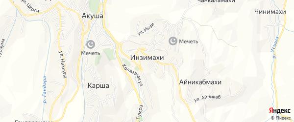 Карта хутора Инзимахи в Дагестане с улицами и номерами домов