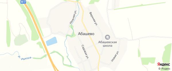 Карта села Абашево в Чувашии с улицами и номерами домов