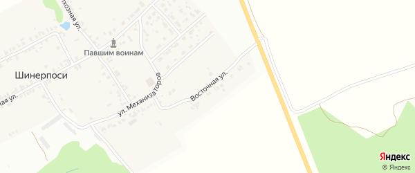 Восточная улица на карте деревни Шинерпосей с номерами домов