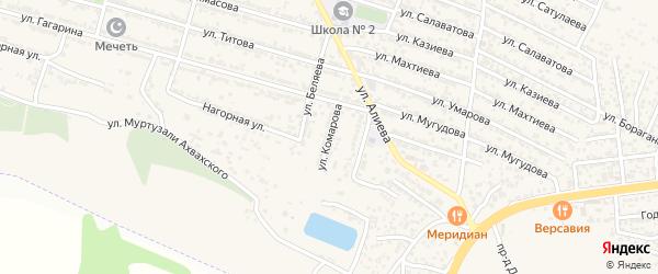 Улица Комарова на карте поселка Ленинкента с номерами домов