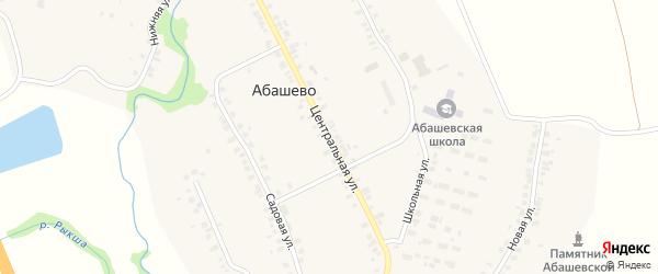 Центральная улица на карте села Абашево с номерами домов