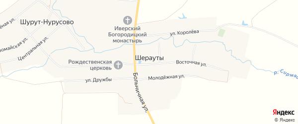 Карта села Шерауты в Чувашии с улицами и номерами домов