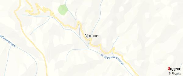 Карта хутора Ургани в Дагестане с улицами и номерами домов