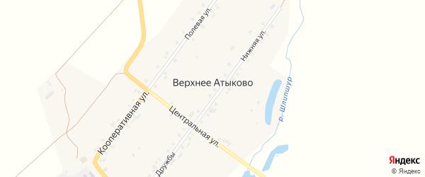 Центральная улица на карте деревни Верхнее Атыково с номерами домов