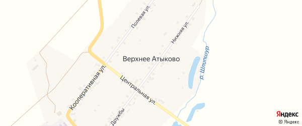 Полевая улица на карте деревни Верхнее Атыково с номерами домов