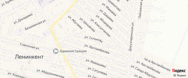 Улица Гитинова на карте поселка Ленинкента с номерами домов