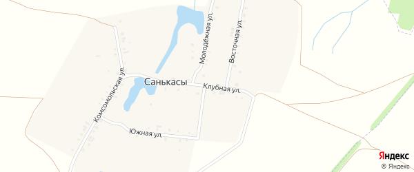 Клубная улица на карте деревни Санькас с номерами домов