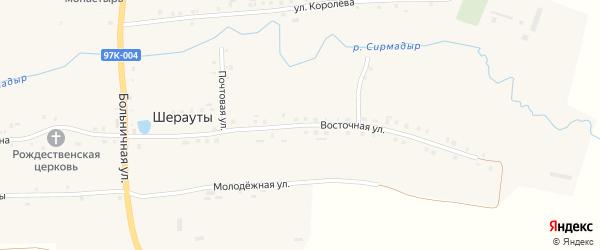 Восточная улица на карте села Шерауты с номерами домов