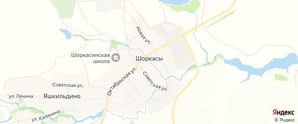 Карта села Шоркас в Чувашии с улицами и номерами домов