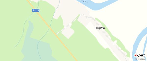 Карта деревни Нырма в Архангельской области с улицами и номерами домов