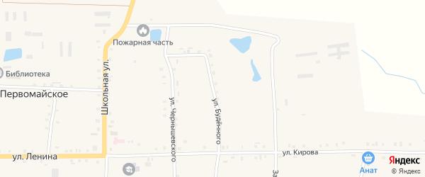 Улица Буденного на карте Первомайского села с номерами домов