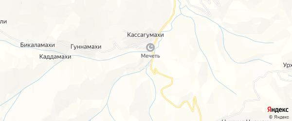 Карта села Кассагумахи в Дагестане с улицами и номерами домов