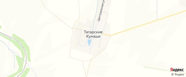 Карта деревни Татарские Кунаши в Чувашии с улицами и номерами домов