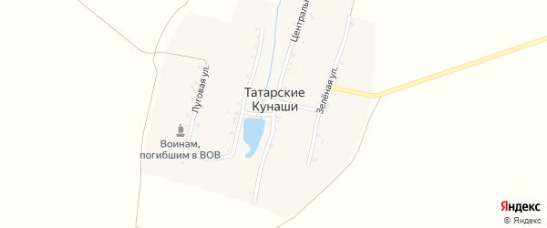 Зеленая улица на карте деревни Татарские Кунаши с номерами домов