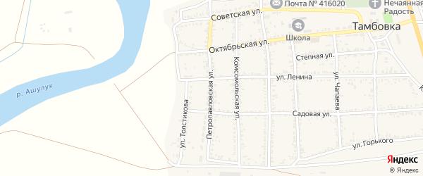 Петропавловская улица на карте села Тамбовки с номерами домов