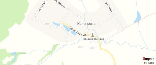 Советская улица на карте деревни Калиновки с номерами домов
