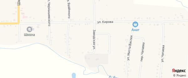 Заводская улица на карте Первомайского села с номерами домов