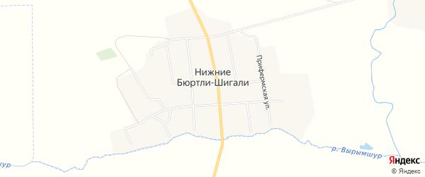 Карта деревни Нижние Бюртли-Шигали в Чувашии с улицами и номерами домов