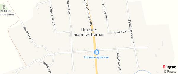 Восточная улица на карте деревни Нижние Бюртли-Шигали с номерами домов