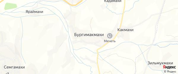Карта села Бургимакмахи в Дагестане с улицами и номерами домов