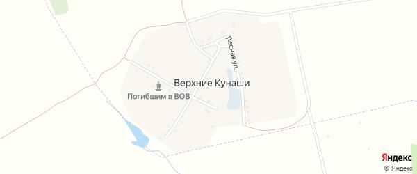 Лесная улица на карте деревни Верхние Кунаши с номерами домов