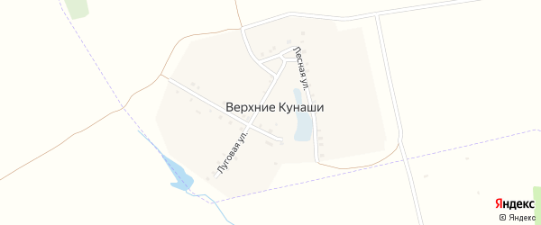 Зеленая улица на карте деревни Верхние Кунаши с номерами домов