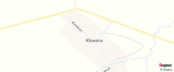 Южная улица на карте деревни Юськас с номерами домов