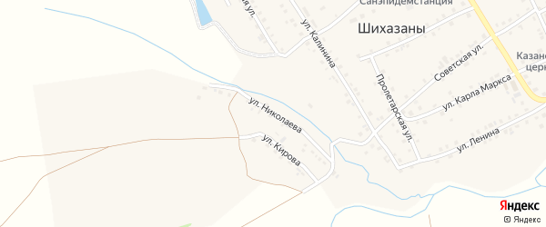Улица Николаева на карте села Шихазаны с номерами домов