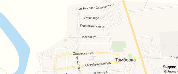 Полевая улица на карте села Тамбовки с номерами домов