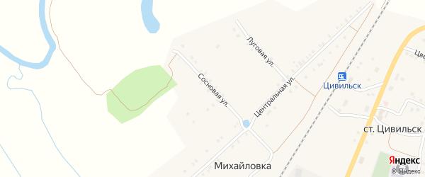 Сосновая улица на карте деревни Михайловки с номерами домов