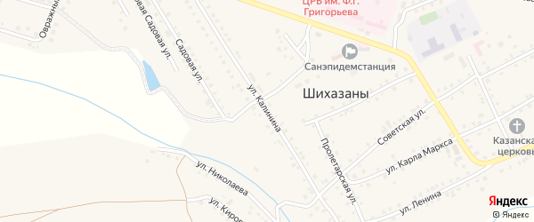 Улица Калинина на карте села Шихазаны с номерами домов