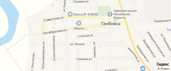 Степная улица на карте села Тамбовки с номерами домов