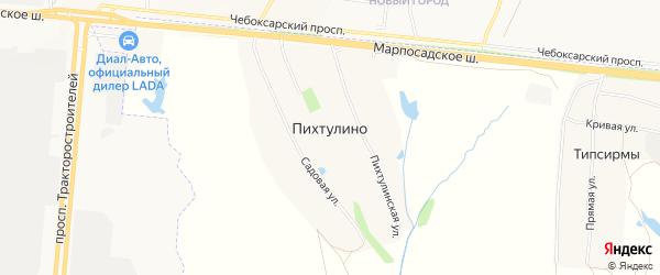 Карта деревни Пихтулино в Чувашии с улицами и номерами домов