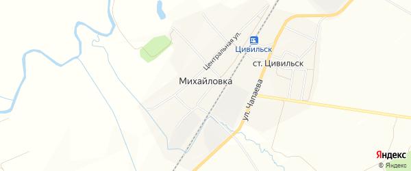 Карта деревни Михайловки в Чувашии с улицами и номерами домов