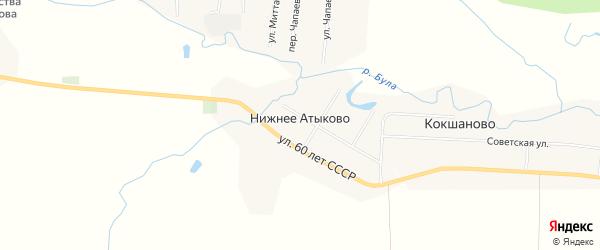 Карта деревни Нижнее Атыково в Чувашии с улицами и номерами домов