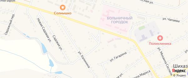 Придорожный переулок на карте села Шихазаны с номерами домов