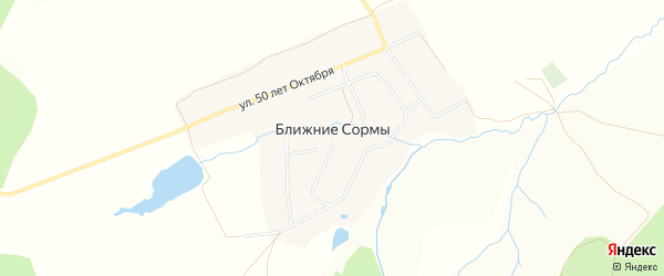 Карта деревни Ближние Сормы в Чувашии с улицами и номерами домов