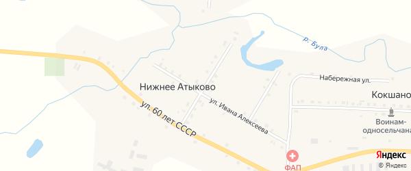 Улица Механизаторов на карте деревни Нижнее Атыково с номерами домов