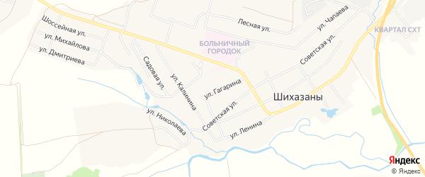 Карта села Шихазаны в Чувашии с улицами и номерами домов